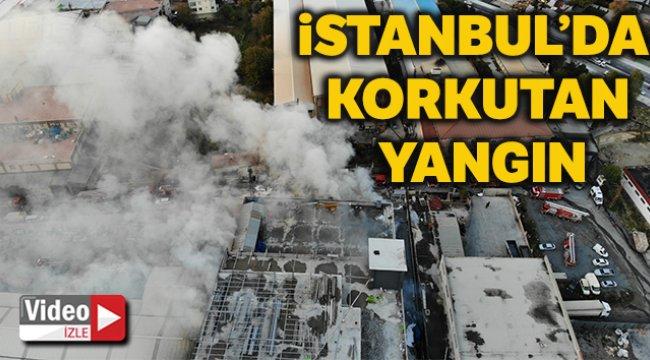 Arnavutköy'de mobilya imalat fabrikasında korkutan yangın