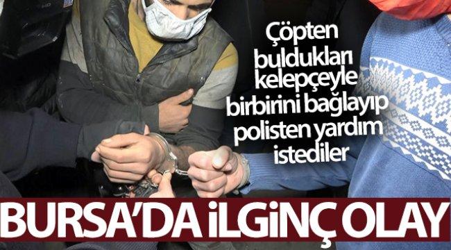 Çöpten buldukları kelepçeyle birbirini bağlayıp polisten yardım istediler