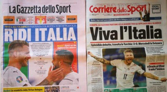 Türkiye'nin 3-0 yenildiği EURO 2020'nin açılış maçı İtalyan basınında: 'Muhteşem başlangıç, Türkiye ezildi'