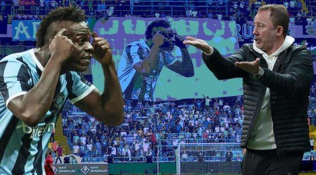 Adana Demirspor tribünlerinden dikkat çeken Balotelli pankartı